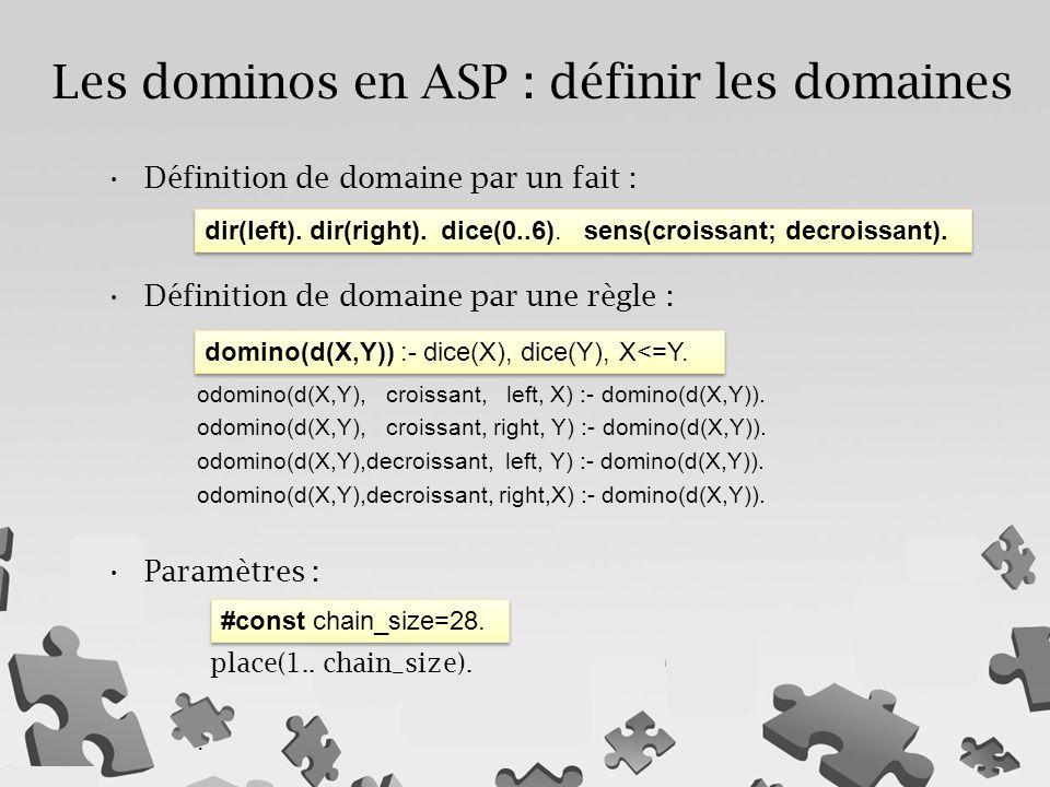 Les dominos en ASP : définir les domaines