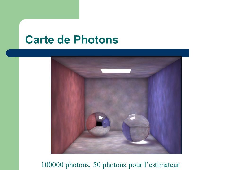 Carte de Photons 100000 photons, 50 photons pour l'estimateur