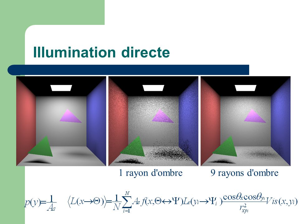 Illumination directe 1 rayon d ombre 9 rayons d ombre