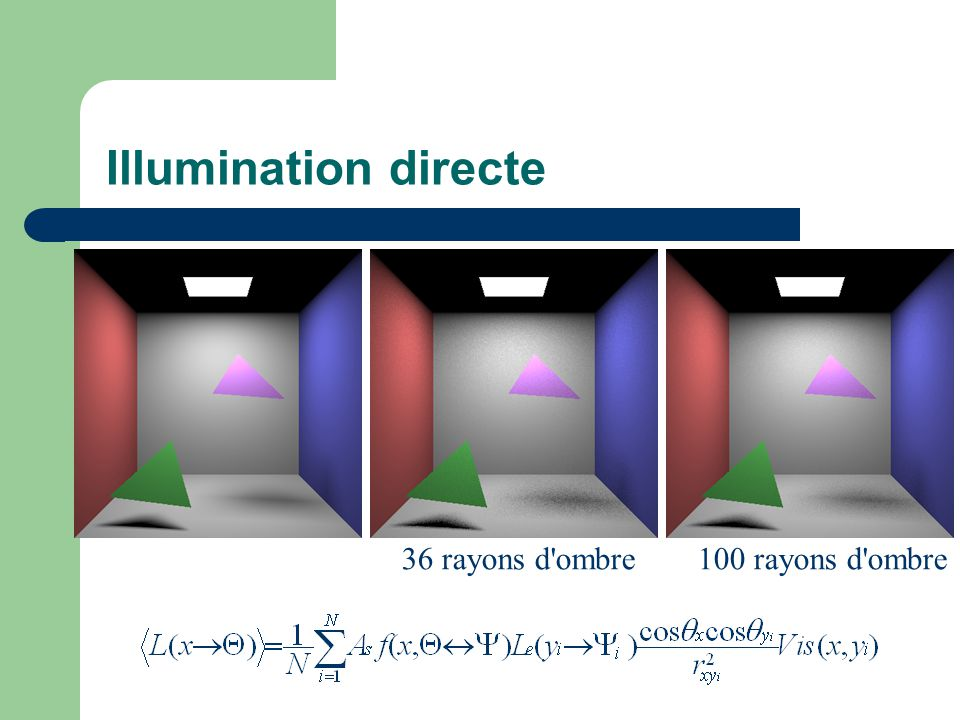 Illumination directe 36 rayons d ombre 100 rayons d ombre