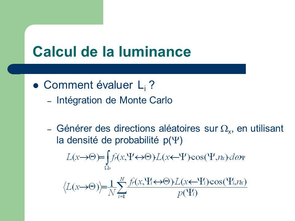 Calcul de la luminance Comment évaluer Li Intégration de Monte Carlo