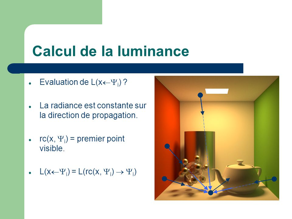 Calcul de la luminance Evaluation de L(x¬Yi)