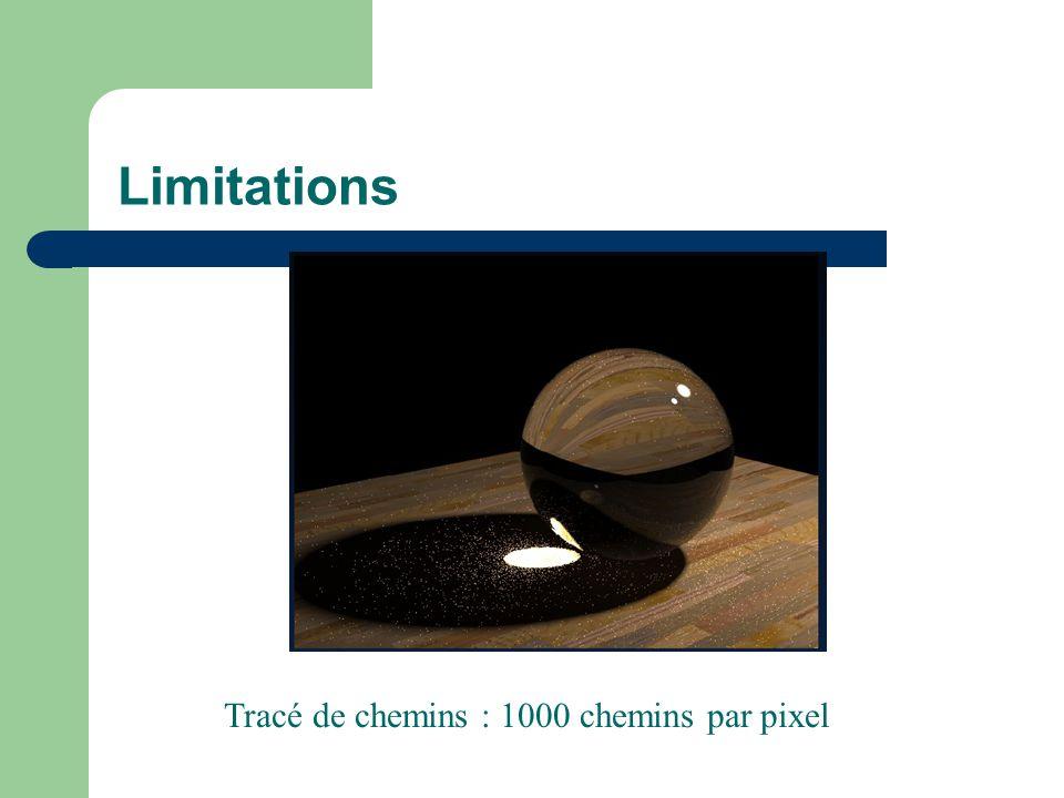 Limitations Tracé de chemins : 1000 chemins par pixel