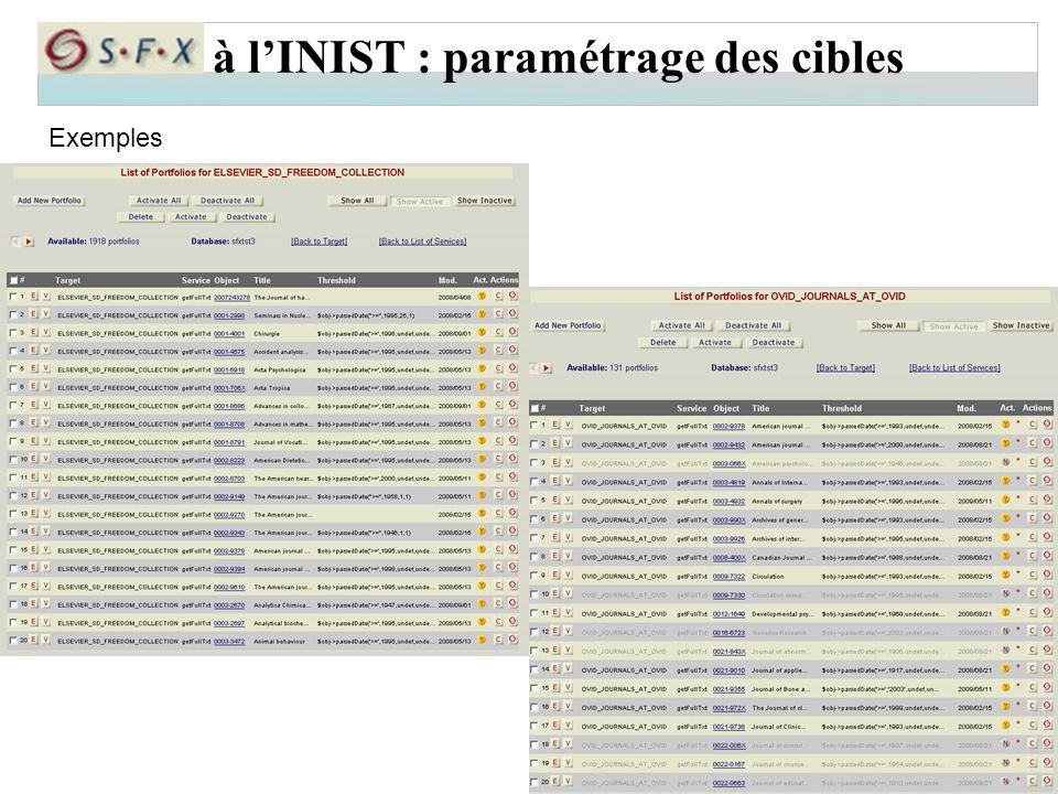 à l'INIST : paramétrage des cibles