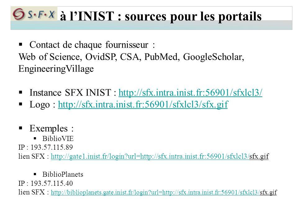 à l'INIST : sources pour les portails
