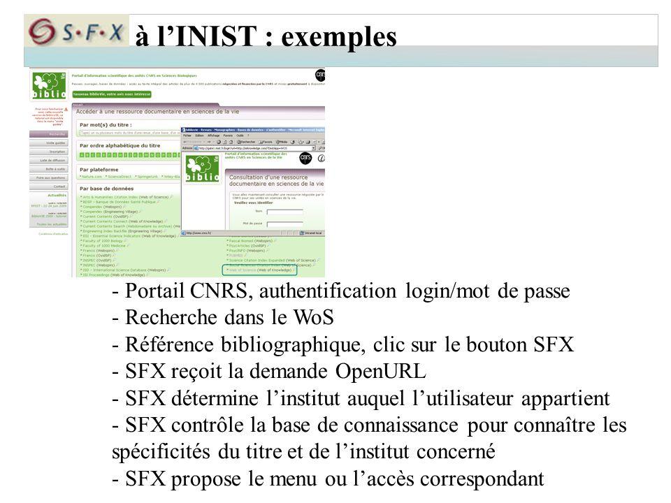 à l'INIST : exemples - Portail CNRS, authentification login/mot de passe. - Recherche dans le WoS.