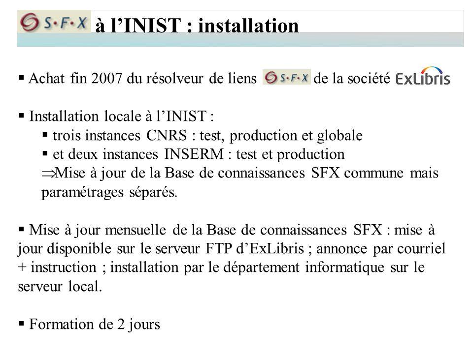 à l'INIST : installation