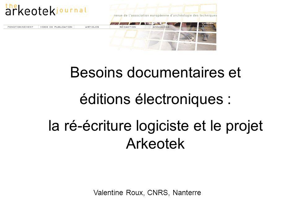 Besoins documentaires et éditions électroniques :