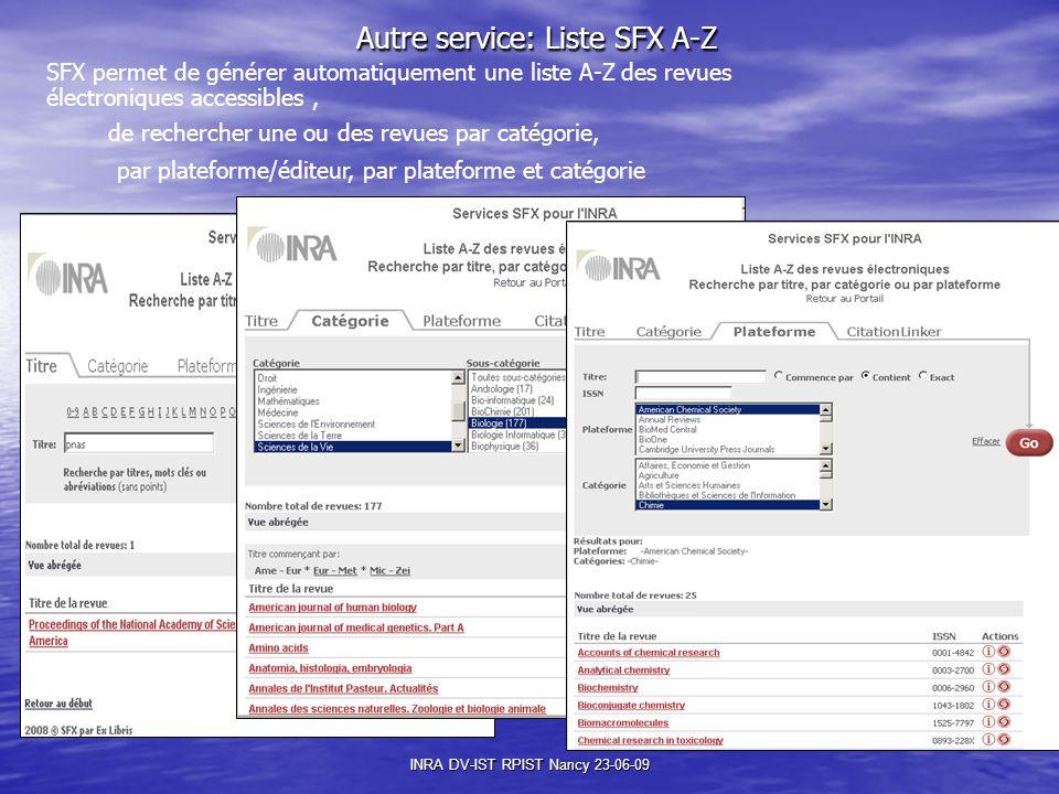 Autre service: Liste SFX A-Z