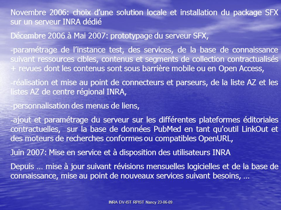 INRA DV-IST RPIST Nancy 23-06-09
