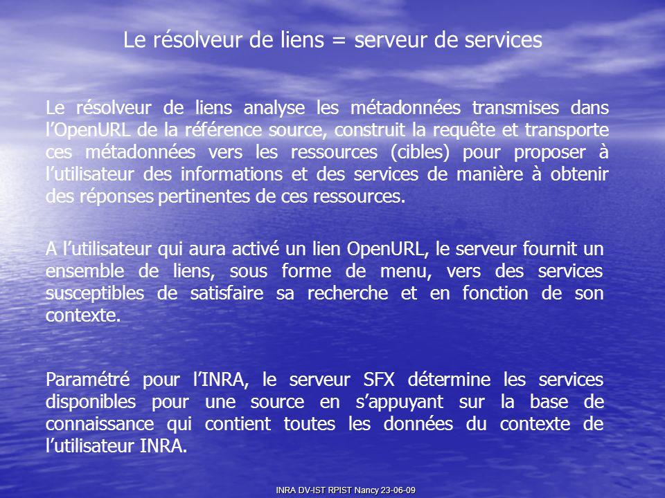 Le résolveur de liens = serveur de services