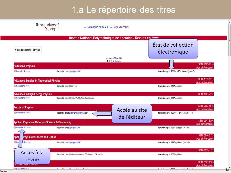 1.a Le répertoire des titres