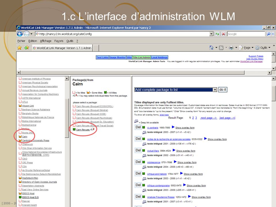 1.c L'interface d'administration WLM