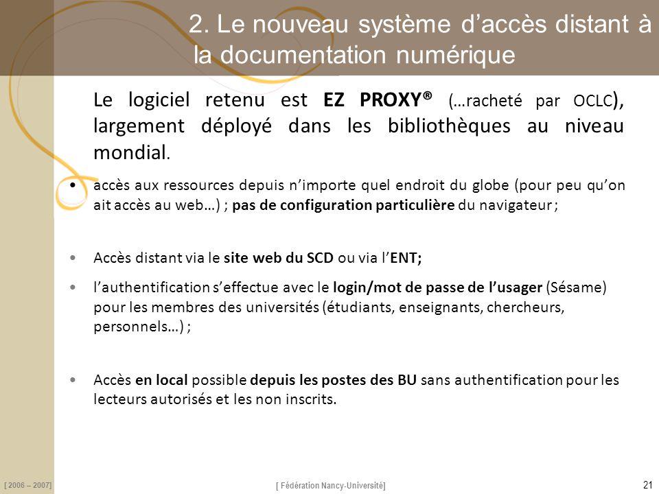 2. Le nouveau système d'accès distant à la documentation numérique