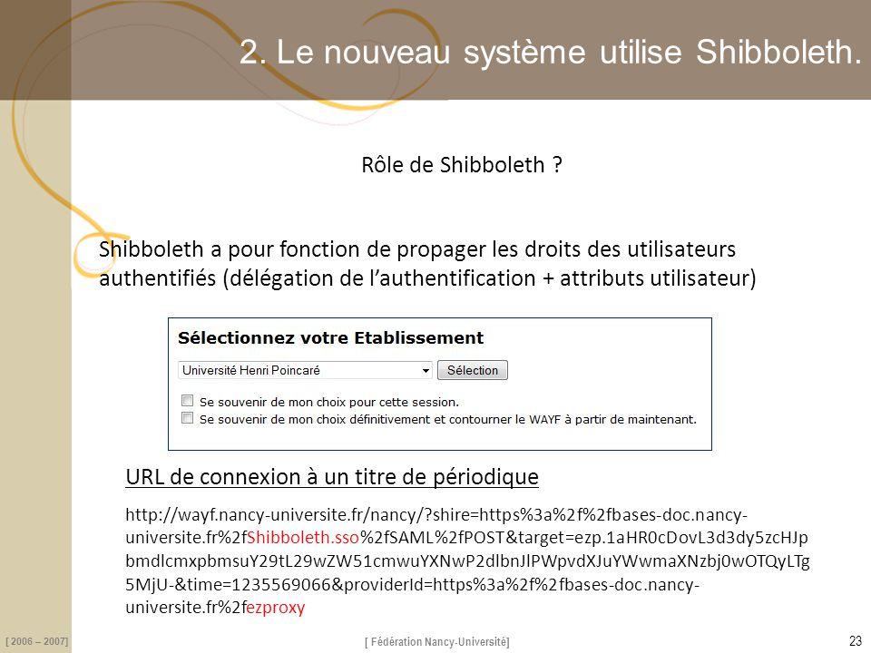 2. Le nouveau système utilise Shibboleth.