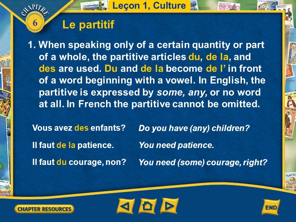 Leçon 1, Culture Le partitif.