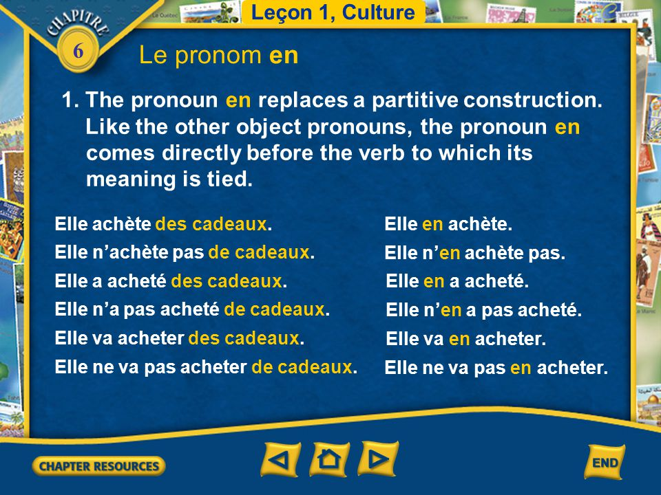 Le pronom en 1. The pronoun en replaces a partitive construction.