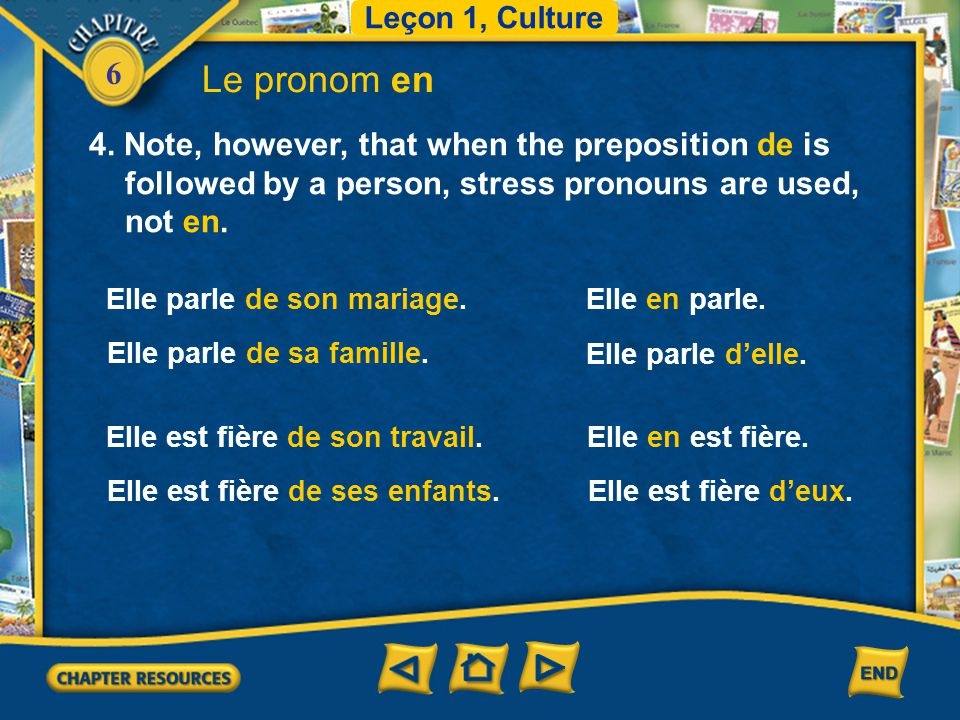 Leçon 1, Culture Le pronom en. 4. Note, however, that when the preposition de is followed by a person, stress pronouns are used, not en.