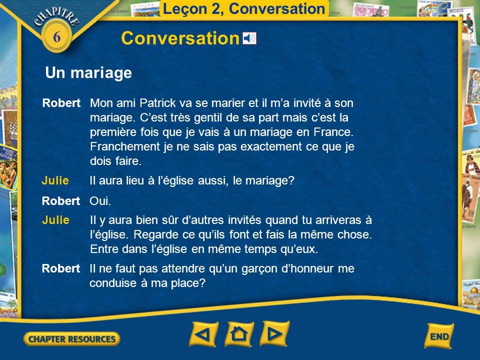Conversation Un mariage Leçon 2, Conversation