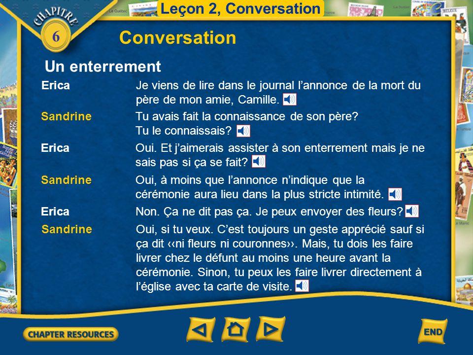 Conversation Un enterrement Leçon 2, Conversation