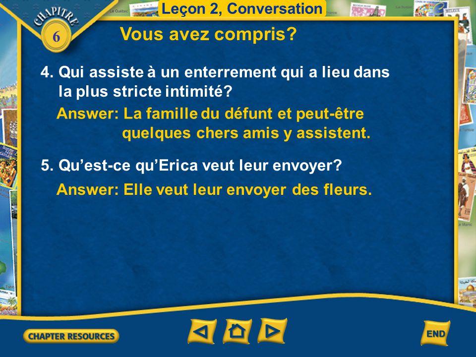 Leçon 2, Conversation Vous avez compris 4. Qui assiste à un enterrement qui a lieu dans la plus stricte intimité