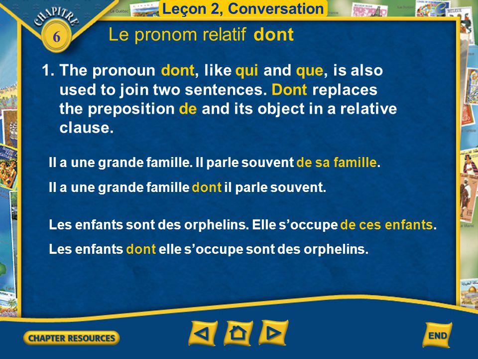 Leçon 2, Conversation Le pronom relatif dont.
