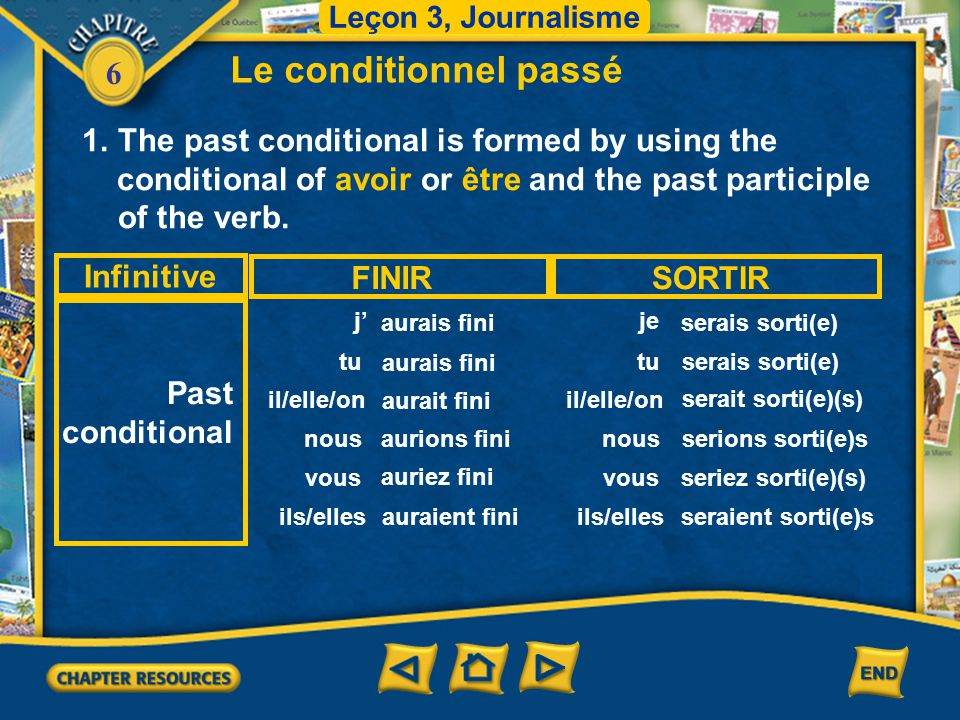 Le conditionnel passé The past conditional is formed by using the