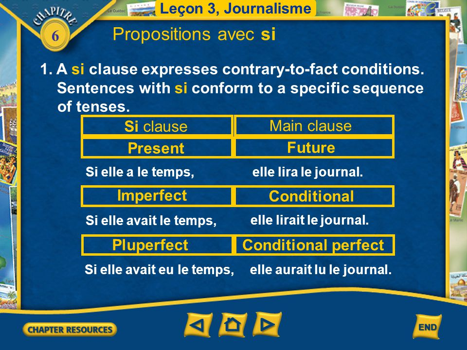 Leçon 3, Journalisme Propositions avec si. 1. A si clause expresses contrary-to-fact conditions.