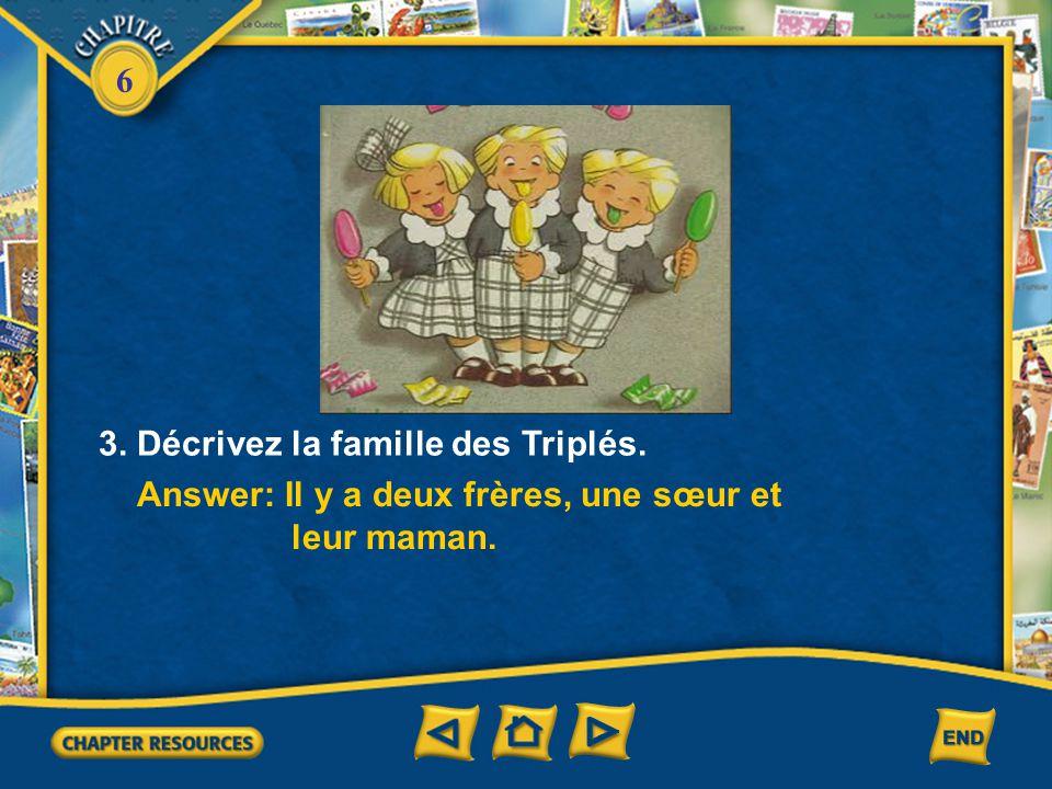 3. Décrivez la famille des Triplés.