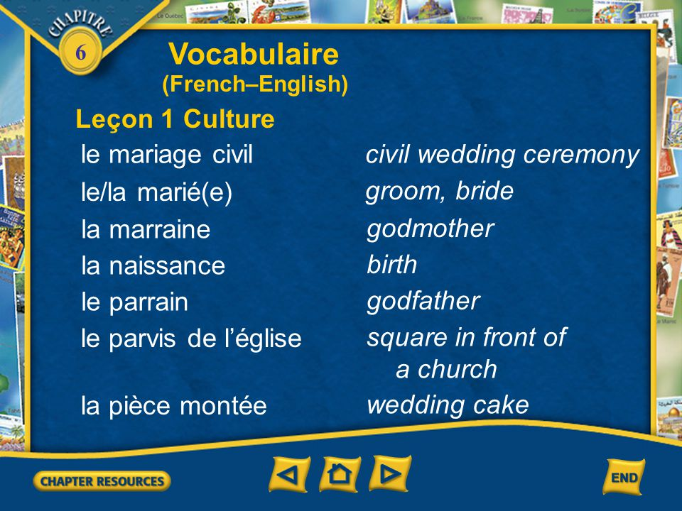 Vocabulaire Leçon 1 Culture le mariage civil civil wedding ceremony