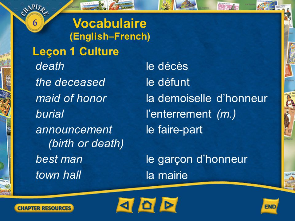Vocabulaire Leçon 1 Culture death le décès the deceased le défunt