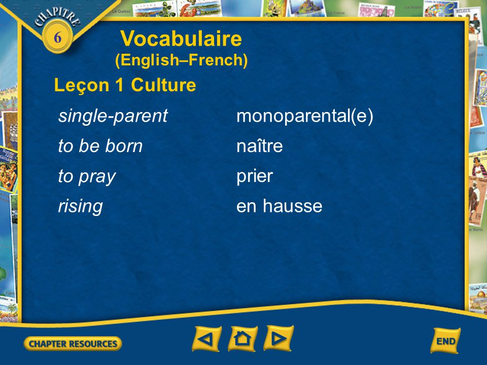 Vocabulaire Leçon 1 Culture single-parent monoparental(e) to be born