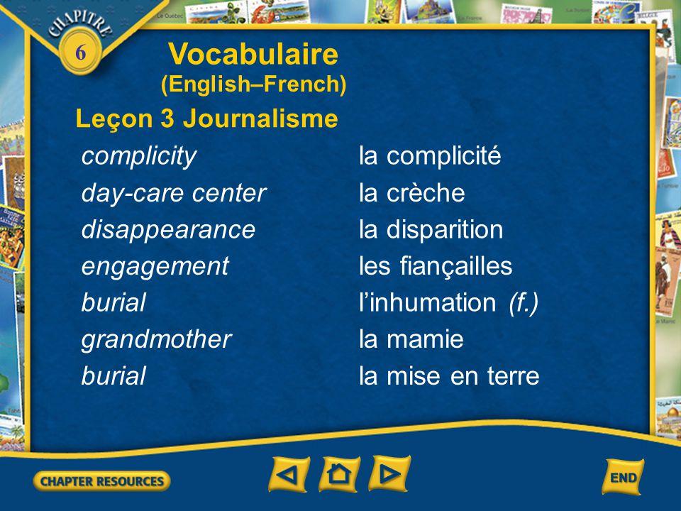 Vocabulaire Leçon 3 Journalisme complicity la complicité