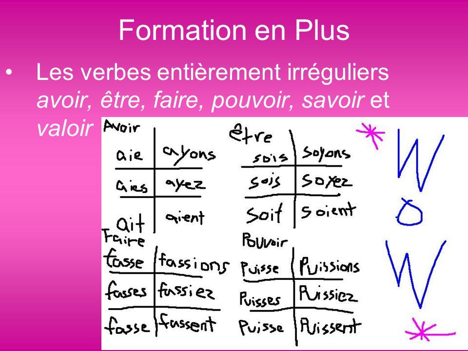 Formation en Plus Les verbes entièrement irréguliers avoir, être, faire, pouvoir, savoir et valoir