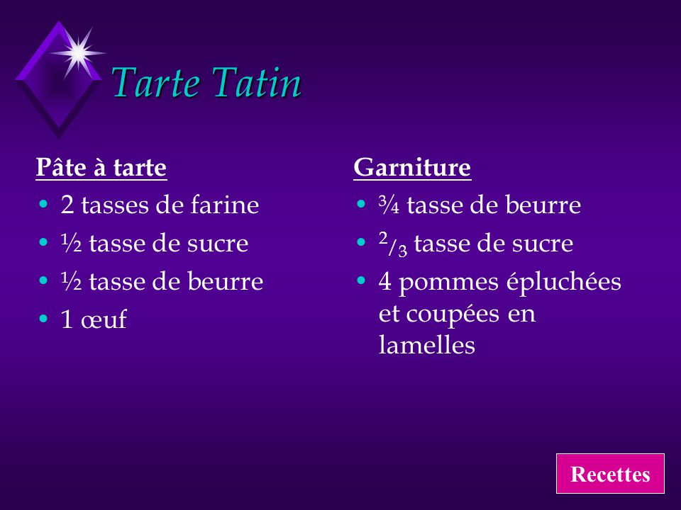 Tarte Tatin Pâte à tarte 2 tasses de farine ½ tasse de sucre