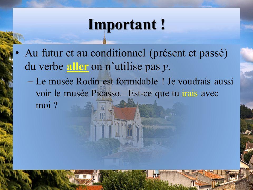 Important ! Au futur et au conditionnel (présent et passé) du verbe aller on n'utilise pas y.