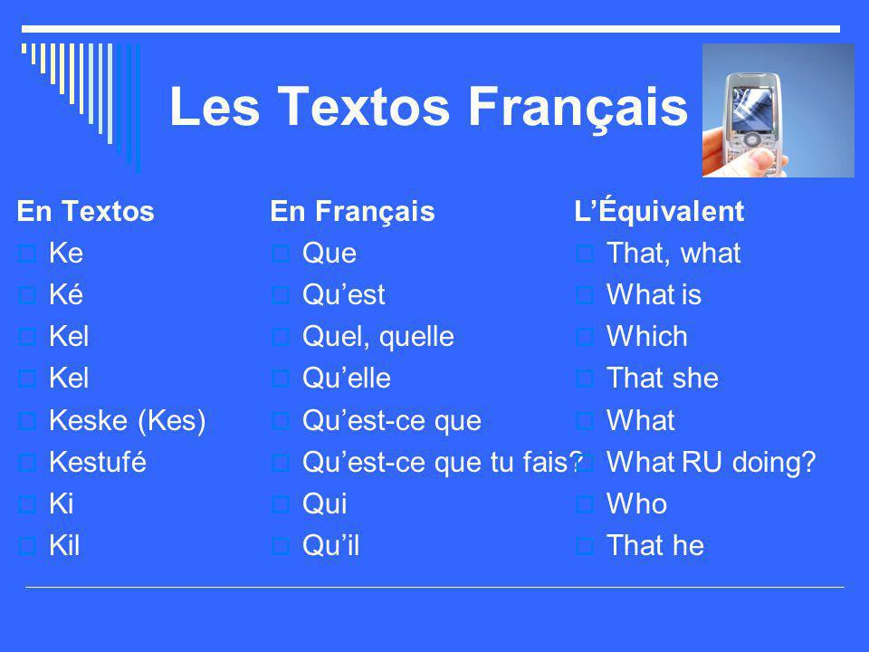 Les Textos Français En Textos Ke Ké Kel Keske (Kes) Kestufé Ki Kil