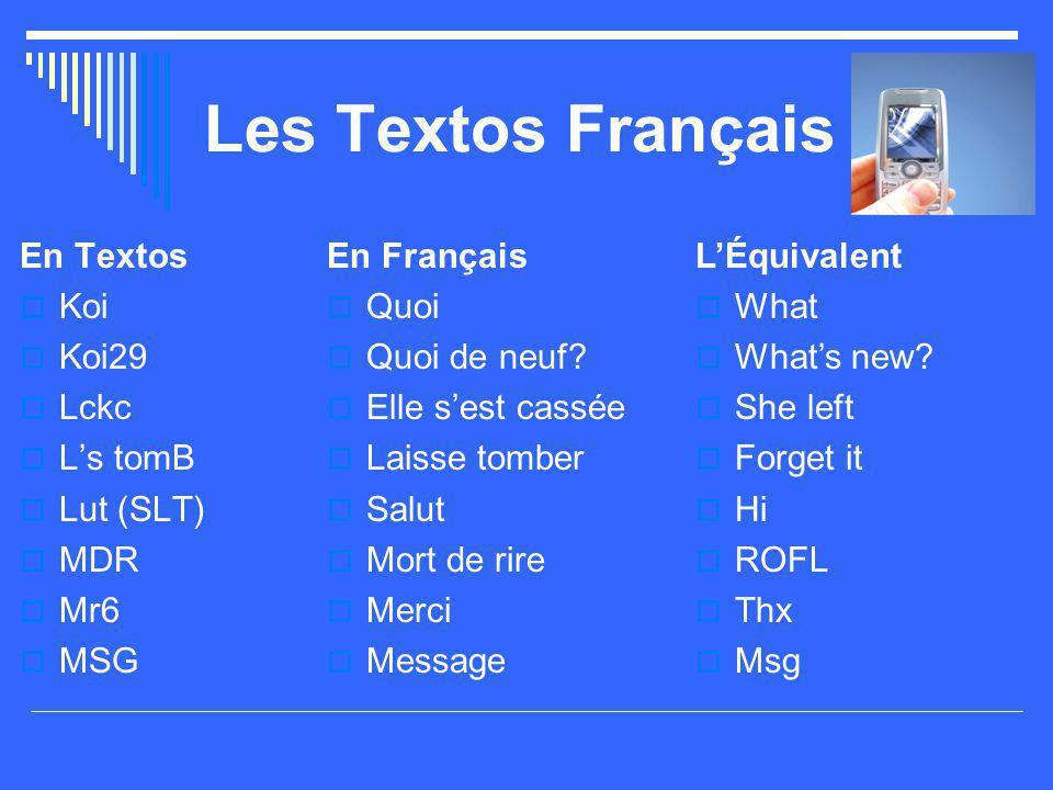 Les Textos Français En Textos Koi Koi29 Lckc L's tomB Lut (SLT) MDR
