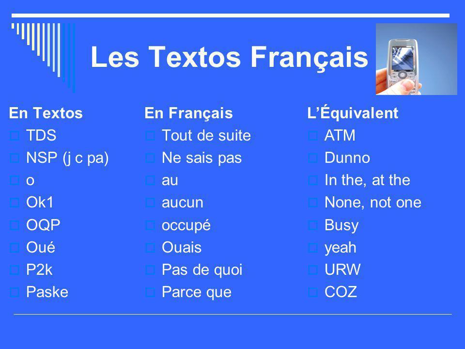 Les Textos Français En Textos TDS NSP (j c pa) o Ok1 OQP Oué P2k Paske