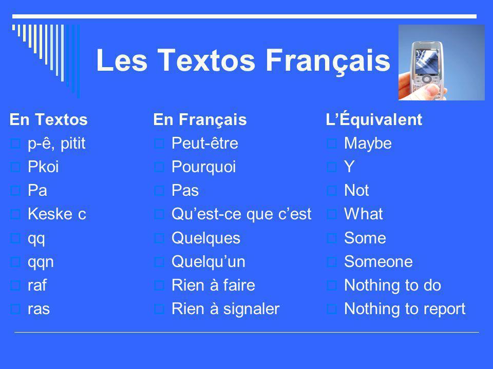Les Textos Français En Textos p-ê, pitit Pkoi Pa Keske c qq qqn raf