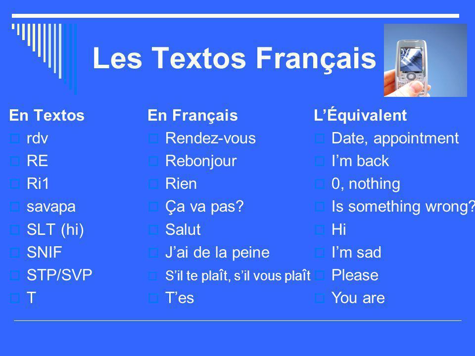 Les Textos Français En Textos rdv RE Ri1 savapa SLT (hi) SNIF STP/SVP