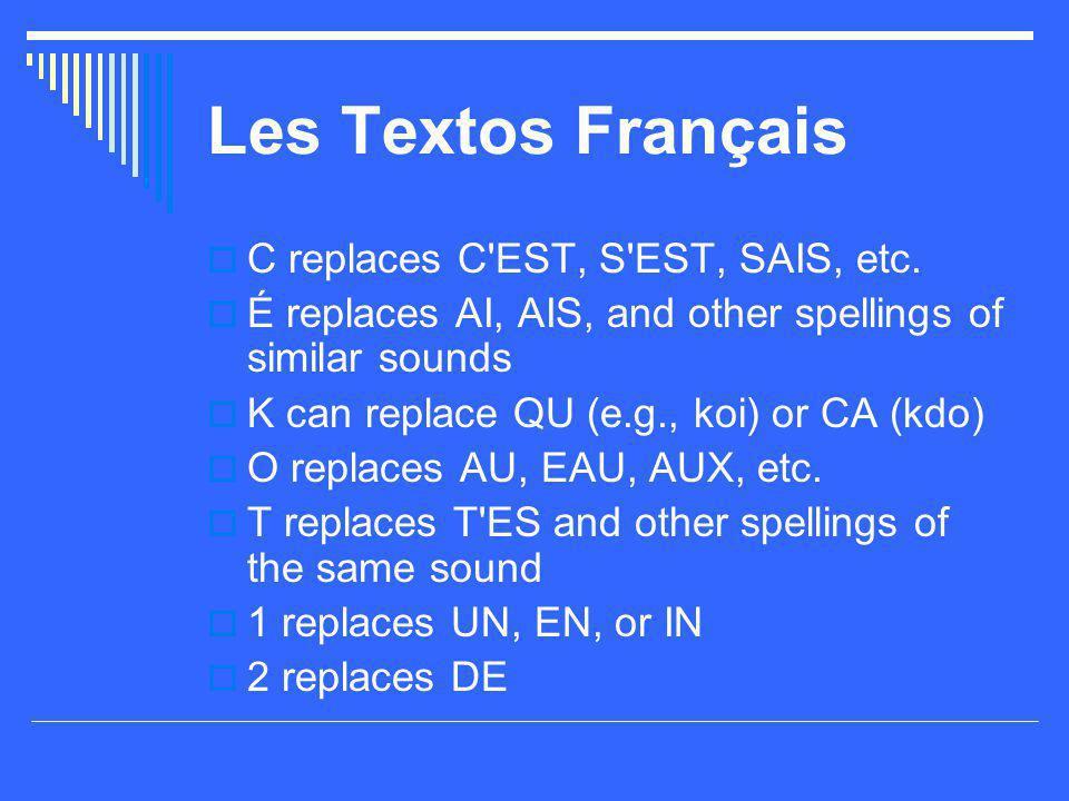 Les Textos Français C replaces C EST, S EST, SAIS, etc.