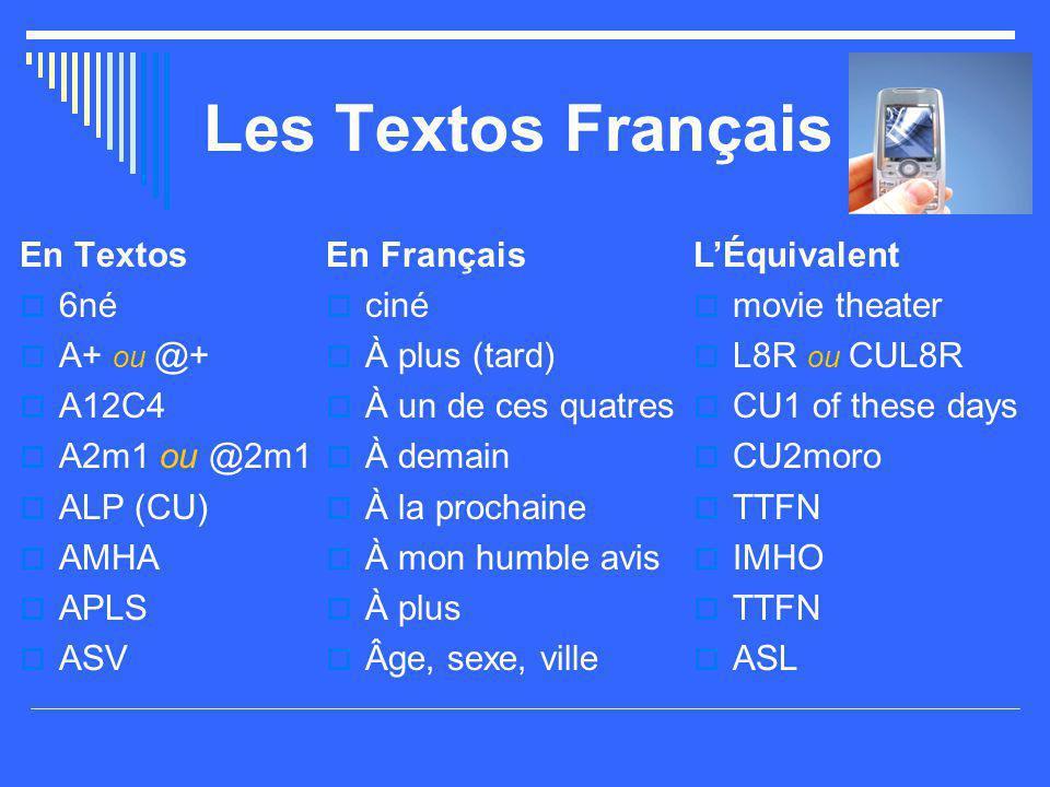 Les Textos Français En Textos 6né A+ ou @+ A12C4 A2m1 ou @2m1 ALP (CU)
