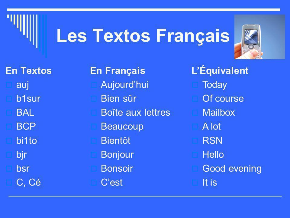 Les Textos Français En Textos auj b1sur BAL BCP bi1to bjr bsr C, Cé