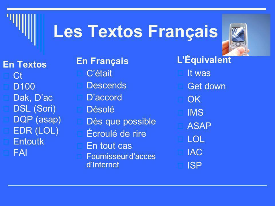 Les Textos Français L'Équivalent En Français It was En Textos C'était