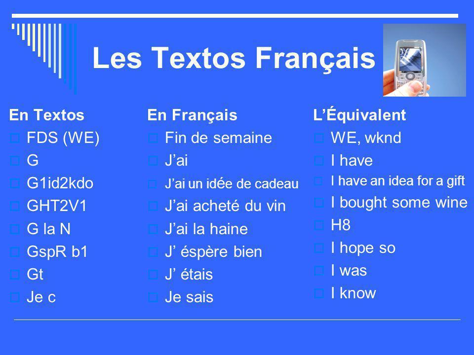 Les Textos Français En Textos FDS (WE) G G1id2kdo GHT2V1 G la N