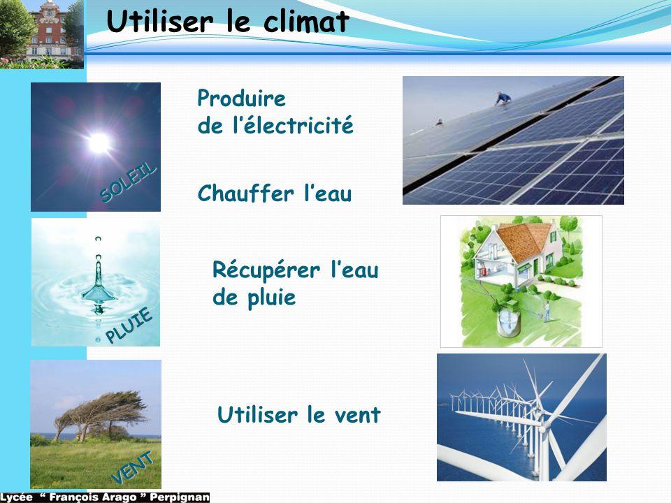 Utiliser le climat Produire de l'électricité Chauffer l'eau