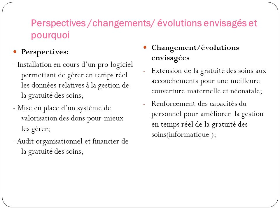 Perspectives /changements/ évolutions envisagés et pourquoi