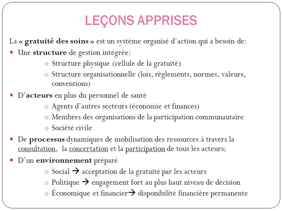 LEÇONS APPRISES La « gratuité des soins » est un système organisé d'action qui a besoin de: Une structure de gestion intégrée: