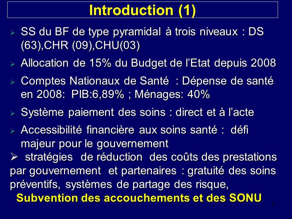 Introduction (1) SS du BF de type pyramidal à trois niveaux : DS (63),CHR (09),CHU(03) Allocation de 15% du Budget de l'Etat depuis 2008.
